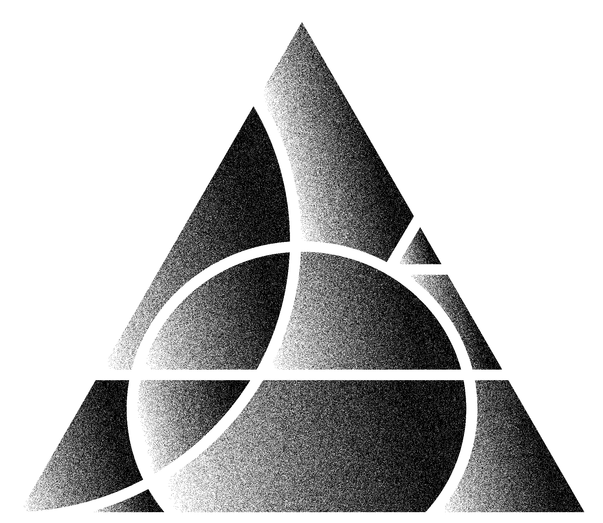 Black and White Grainey Pyramid Face with Circular Patterns overlayed in White