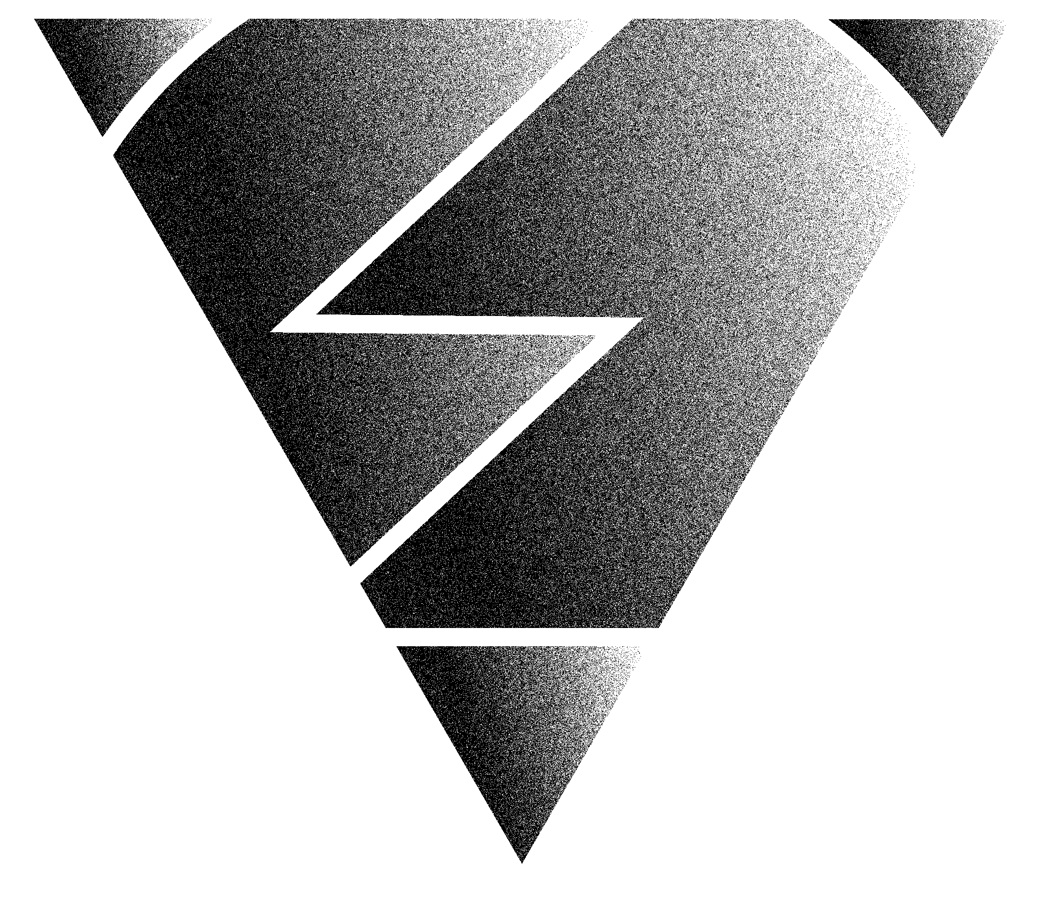 Black and White Grainey Upside Down Pyramid Face with Zigzag Patterns overlayed in White