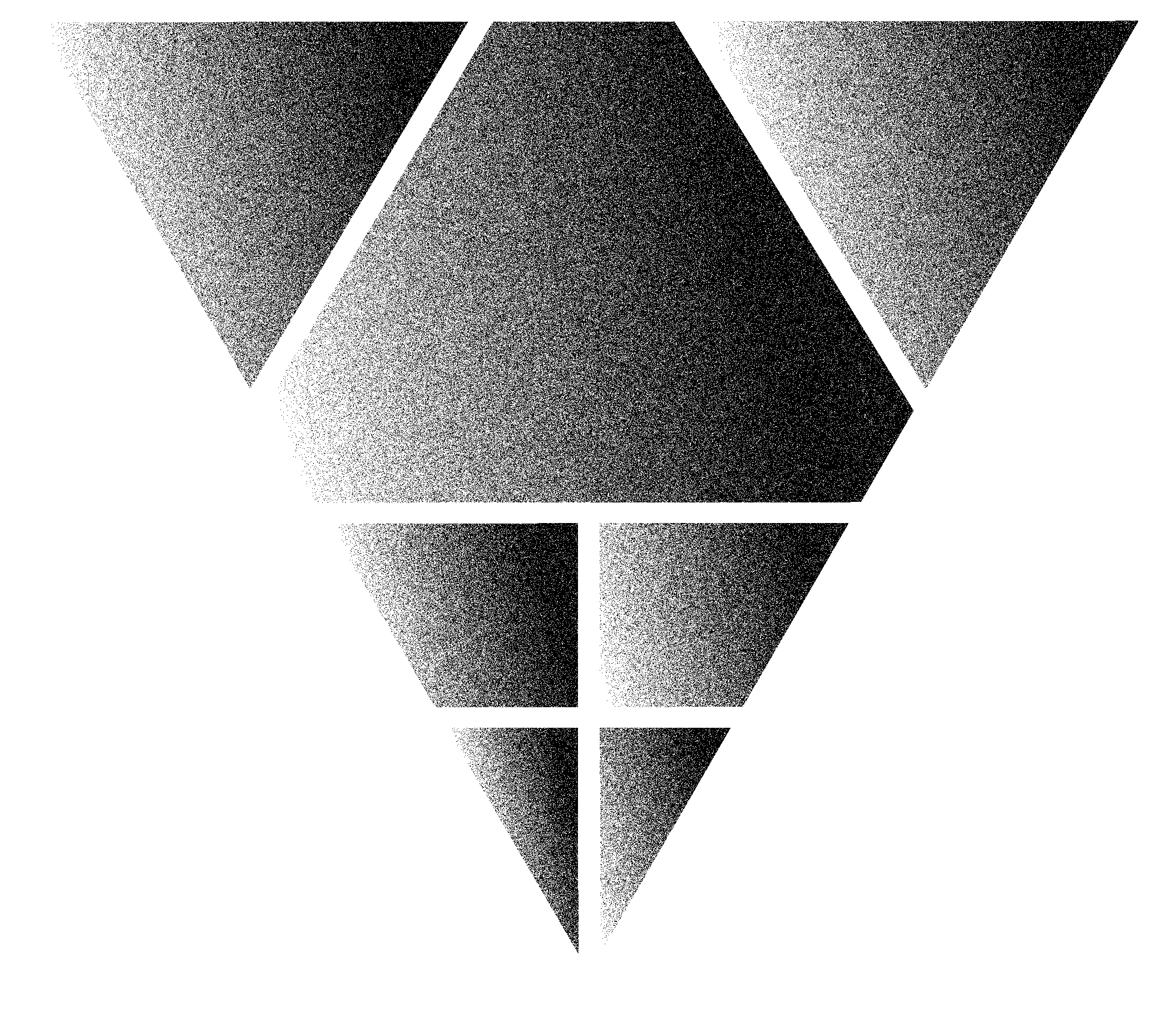 Black and White Grainey Upside Down Pyramid Face with Triangular Patterns overlayed in White